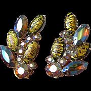 1960's Vintage Amber Aurora Borealis Rhinestone & Gold Foil Cabochon Earrings