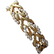 Vintage Corocraft Coro Craft Gold Tone Leaf Link & Faux Seed Pearl Braided Bracelet
