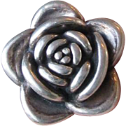 Big Bold 3-Dimensional Sterling Silver ROSE Flower Ring, Size 6.75