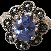 Vintage Sterling Silver London Blue Topaz & Marcasite Flower Cocktail Ring, Size 6.5