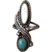 1960's Vintage Navajo Turquoise & Mother-of-Pearl Long Sterling Silver Ring, Size 5.5