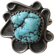 Vintage Sterling Silver & Turquoise Native American Ring, Size 6.25