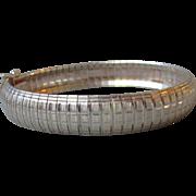 """Vintage 1/2"""" Wide Flexible Italian Textured Sterling Silver Cuff Bracelet, 7 1/2"""""""