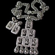 Fabulous MONET 1960's Mod Big Squares & Dangle Beads Necklace & Earrings Set