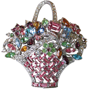 Magnificent BOGOFF Vintage Pastel Rhinestone Flower Basket Brooch Pin, Book Piece!