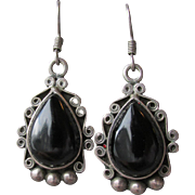SALE Big Vintage Dangle Mexico Sterling Silver & Dark Brown Smoky Quartz Earrings, Signed CH-1