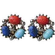 1960's Vintage Round Silver Tone Scarab Earrings