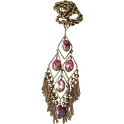 "Massive 1960's Vintage Dangle Bead Tassel 7"" Long Pendant Necklace"