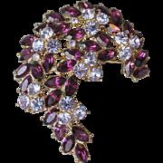 1961 Vintage Trifari Flower Spray Rhinestone Pin in Purple & Blue, Memo AD and Book Piece!