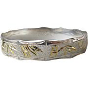 Vintage Yellow Gold Plated Bamboo on Solid 925 Sterling Silver HAWAIIAN Bangle Bracelet, Size