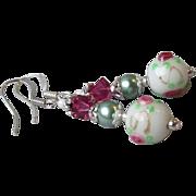 """My Secret Garden"" Lampwork Art Glass Artisan Earrings, ""Vintage Wedding Cake B"