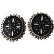Stephen Dweck Sterling Silver Carved Onyx & Mother-of-Pearl Vintage Clip Earrings