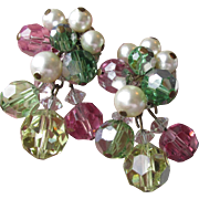 Signed VENDOME Multi-Color Pastel Crystals & Faux Pearl Cluster Dangle Earrings