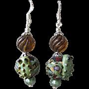 """""""My Secret Garden"""" Lampwork Art Glass Artisan Earrings, """"Frog & Amber Bubbles"""""""