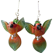 """My Secret Garden"" Lampwork Art Glass Artisan Earrings, ""Rainforest Hummingbird"