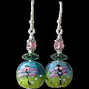 """My Secret Garden"" Lampwork Art Glass Artisan Earrings, ""Margarita Dragonfly"""