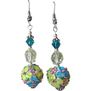 """My Secret Garden"" Lampwork Art Glass Artisan Earrings, ""Pastel Bouquet"" #"