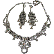 SALE Spectacular Vintage Unsigned WEISS Rhinestone Necklace & Waterfall Earrings Set, Bridal .