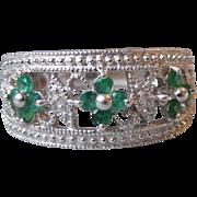 Pretty Open Work Sterling Silver Emerald & Diamond Flower Ring, Size 6