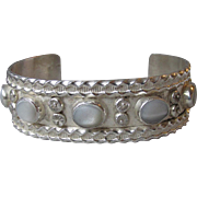 Vintage Silver Plated Faux Moonstone Tribal Cuff Bracelet