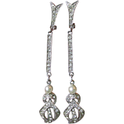 Quality Long 1960's Vintage Dangle Rhinestone & Faux Pearl Party Prom Wedding Earrings