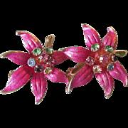 Pretty Vintage 1960's Hot Pink Enamel & Multi Color Rhinestone Tropical Flower Earrings