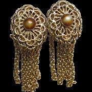 1960's Vintage Gold Tone Filigree & Faux Tiger's Eye Chain Dangle Earrings