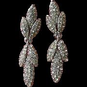 Signed CINER 1960's Sleek Diamonte Rhinestone Dangle Leaf Earrings