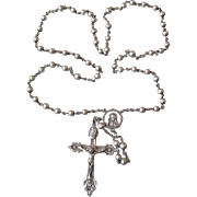 SALE Vintage ALL Sterling Silver Ornate Rosary, Signed HMH