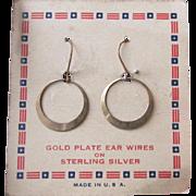 Vintage 1940's Old Store Stock Gilt Sterling Silver Dangle Hoop Pierced Earrings on Original .
