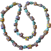 Artisan Necklace of Venetian Art Glass Millefiori Antique African Trade Beads & Turquoise ...