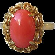 Magnificent Edwardian 18K Gold, Natural Mediterranean Coral Ring
