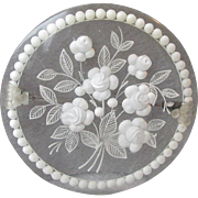 Vintage French Reverse Carved Lucite White Flower Bouquet Pin