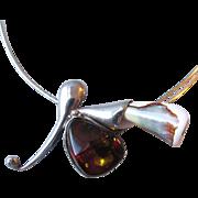 Incredible Modernist Artisan Sterling Silver, Honey Amber & Shell Slide Pendant Vintage ...