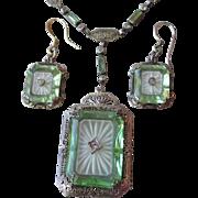 Vintage 1920's Sterling Silver, Green Vaseline & Camphor Glass Necklace & Earrings Set