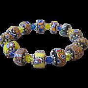 Artisan Antique African Trade Bead & Swarovski Crystal Stretch Bracelet