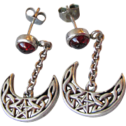 Vintage Peter Stone Sterling Silver & Garnet Cabochon Dangle Earrings, Open Work Crescent Moon