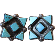 Early Native American Zuni Sterling Silver & Triangular Turquoise Petit Point Screw Back ...