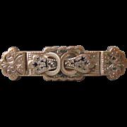 Antique Victorian Era Gold Filled Black Enameled Taille D'epargne Pin