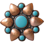 Vintage Bell Trading Co Pin Turquoise Copper Desert Flower