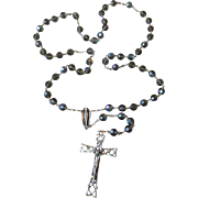 Exceptional Large Vintage Sterling Silver & Dark Aurora Borealis Crystal Bead Rosary, Signed