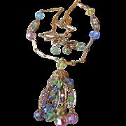 Beautiful 1960's Multi-Colored Pastel Crystal Tassel Necklace & Earrings Set, Vintage Demi ...
