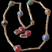 Vintage Multi-Color BIG Venetian Art Glass Wedding Cake Bead & Gold Tone Link Chain Necklace .
