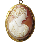 Fine Antique Victorian 10k Gold Carved Shell Cameo of Goddess Hera (Juno) Pin Pendant