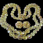 Vintage Double Strand Swarovski Citrine AB Crystal Necklace & Earrings Set, 1960's Demi Parure