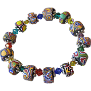 Artisan Antique African Trade Venitian Art Glass Bead & Swarovski Multi-Colored Crystal Stretc