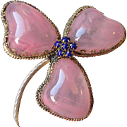 RARE Vintage Signed Schreiner New York BIG Pink Glass Clover Flower Pin