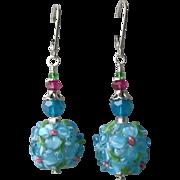 """""""My Secret Garden"""" Lampwork Art Glass Artisan Earrings, """"Caribbean Petals"""""""
