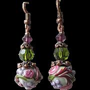 """""""My Secret Garden"""" Art Glass Artisan Earrings, """"Victorian Purple Rose"""" #71"""