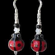 """My Secret Garden"" Art Glass Artisan Earrings, ""Lucky LadyBug"" #74"